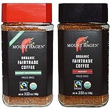 Mount Hagen Organic Freeze Dried Instant Coffee- 3.53 Oz Each,Variety Pack,1 Jar Regular + 1 Jar Decaff, (Pack of 2)