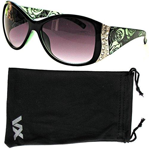 Vox Women's Sunglasses Designer Sport Fashion Rhinestone Vintage Floral Eyewear – Green Frame – Smoke - Vox Sunglasses