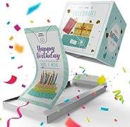 «BOOM» Happy Birthday Card - Tiffany Cake, prank exploding confetti card surprise box