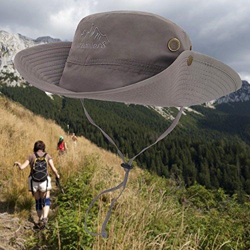 1f57cb43e0d0b LETHMIK Outdoor Waterproof Boonie Hat Wide Brim Breathable Hunting Fishing  Safari Sun Hat Grey