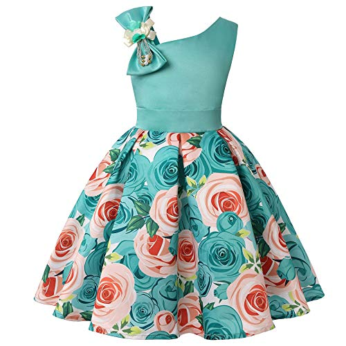 (Flower Girl Dress Cotton Size 8 Special Occasion Dresses for Kids 8-9 Summer Clothing for Girls  (Turquoise, 140))