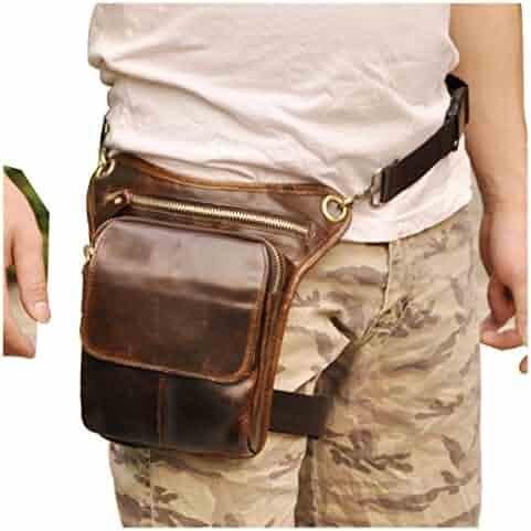 Le'aokuu Mens Genuine Leather Messenger Riding Hip Bum Waist Pack Drop Leg Cross Over Bag