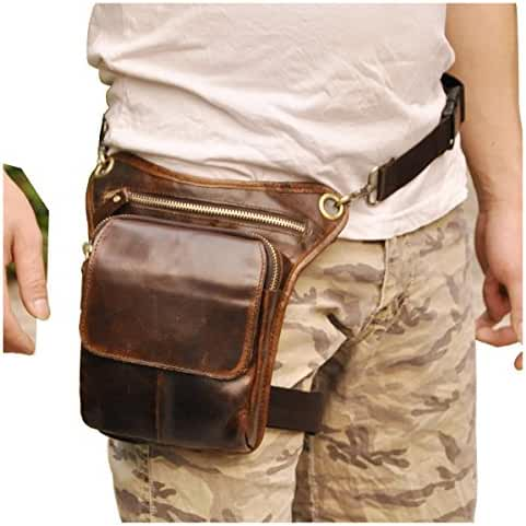 Le'aokuu Mens Genuine Leather Messenger Riding Hip Bum Waist Pack Drop Leg Cross Over Bag