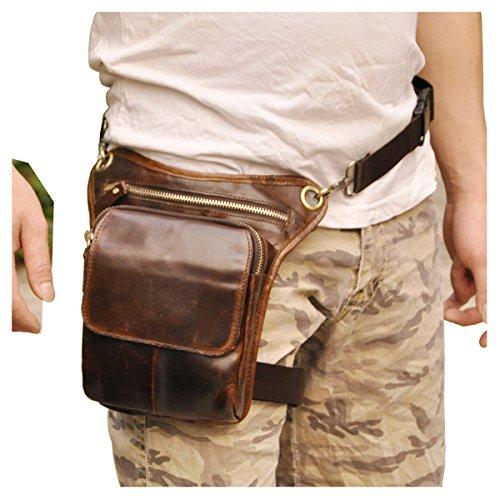 Le'aokuu Mens Genuine Leather Messenger Riding Hip Bum Waist Pack Drop Leg Cross Over Bag -