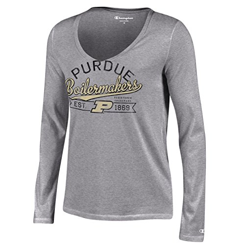 Purdue University T-shirt (NCAA Purdue Boilermakers Women's Champion University Long sleeve V-Neck T-Shirt, Large, Gray)