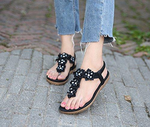 Flop Sandals Black Flip Summer Womens Rhinestone Bohemian Flat Flower Shoes Og5z5wqYx