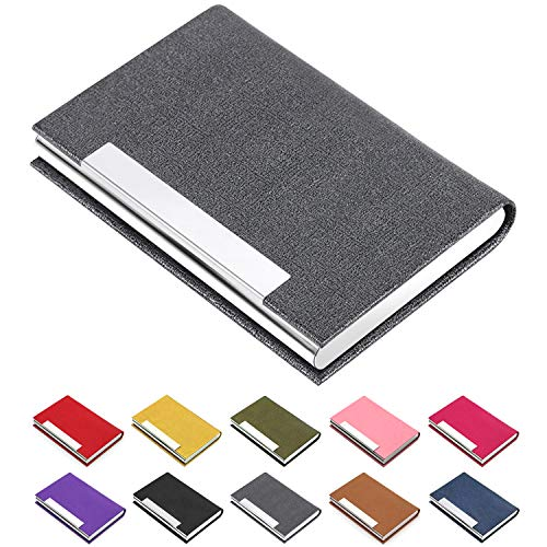 Business Card Holder, Business Card Case Luxury PU Leather & Stainless Steel Multi Card Case,Business Card Holder Wallet Credit Card ID Case/Holder for Men & Women. ()