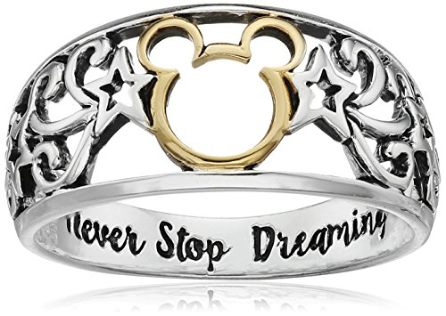 [Disney Two-Tone Sterling Silver and Yellow Gold Plated Mickey Mouse Ring with Never Stop Dreaming Inside Ring, Size 8] (2 Tone Sterling Silver Ring)