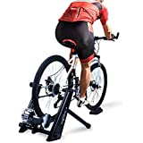 Fluid Bike Trainer Stand, Indoor Fluid Bicycle Exercise Trainer w Quiet Real Road Feel Flywheel, Supports 370lbs Portable Cycling Stand w Sweat Guard /Quick Release/ Front Wheel Riser