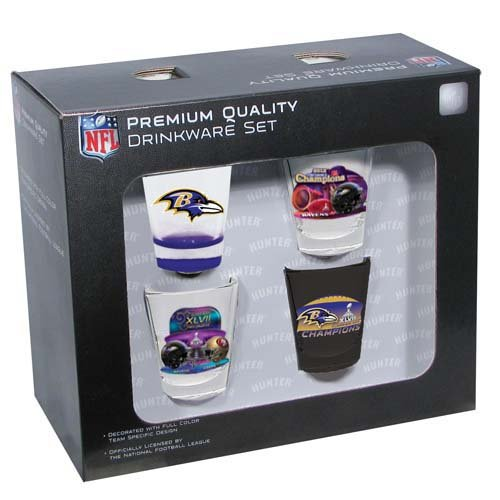 NFL Baltimore Ravens Super Bowl XLVII Champs Shot Glass Collector Set (4-Piece), 2-Ounce