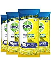 Dettol Power en Fresh MultiReinigingsdoekjes Citrus 4 x 80 Doekjes Grootverpakking