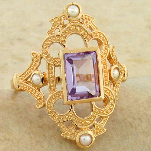 - Genuine Amethyst Pearl Victorian Rose Gold Over 925 Silver Ring Size 6 KN-4887