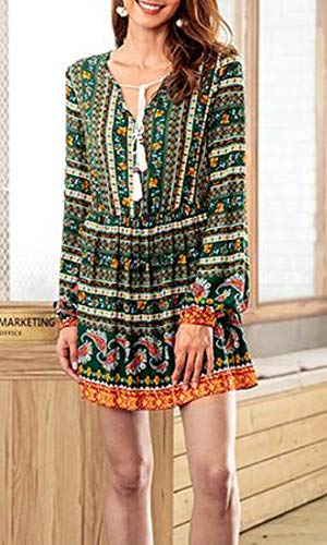 Printed V Dress Party Chic Cromoncent Womens Green Long Neck Drawstring Floral Sleeve Swing wgIUBq