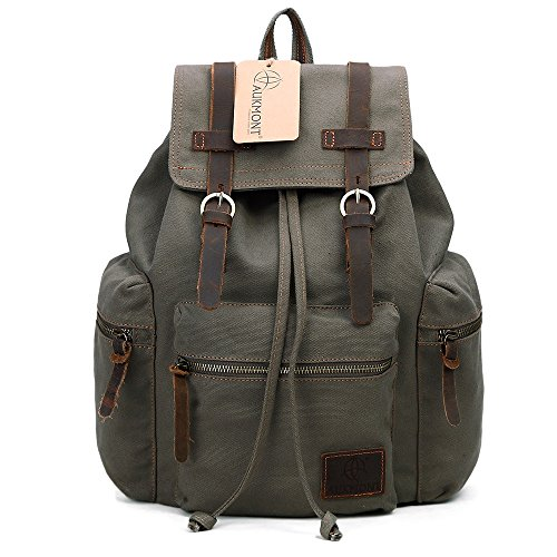 [Vintage Canvas Backpack Outdoor Hiking Travel Rucksack 19L Army Green #220] (20 Series Notebook)