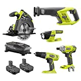 Ryobi 18-Volt ONE+ Li-Ion 5-Tool Combo Kit with Drill, Circ Saw, Recip Saw, Impact Driver, Light, (2)1.5Ah Batteries, Charger -  Ryobi 18-Volt ONE+ Kit