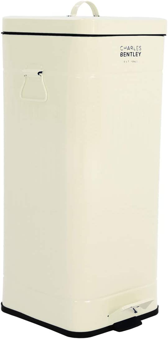 BENTLEY 30L SQUARE CREAM RETRO KITCHEN BIN