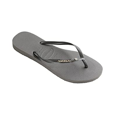 c704a732804c98 Amazon.com  Havaianas Slim Metal Logo And Crystal Womens Sandals ...
