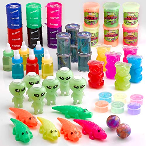 Putty and Slime Mega Pack - 50 Pc. Assortment - Bottles and Cans of Colorful Sludgy Gooey Fidget Kit for Sensory and Tactile Stimulation, Stress Relief, Party Favor, Educational Game by Kidsco