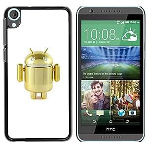For HTC Desire 820 Case , Robot Golden Cute Air Toy - Diseño Patrón Teléfono Caso Cubierta Case Bumper Duro Protección Case Cover Funda