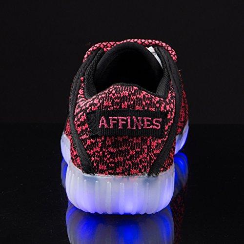 AFFINEST Light Up Schuhe Mens Womens Leichte USB Lade LED Fashion Flashing Sneakers Jungen Mädchen Mit Fernbedienung Schwarz-Rosa