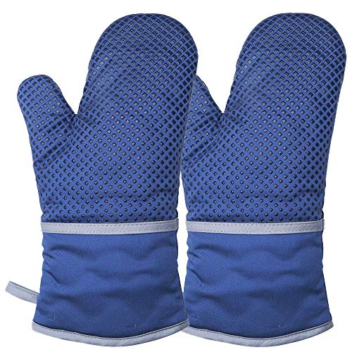 DGLongqi Premium Silicone Oven Mitts,Kitchen Oven Gloves with Silicone Dot Printing for Cooking,Baking,Cooking Gloves,Grilling.(1 Pairs) (Dark Blue)