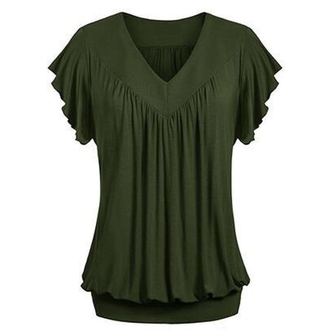 Overdose Frauen Plus Gr/ö/ße Lose V-Ausschnitt Kurzarm Solid Farbe Tops Plissee Bluse T-Shirt Damen Sommer Tops Oberteile