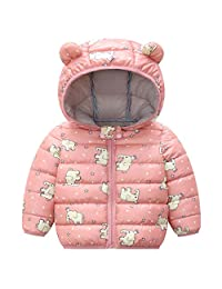 Baby Winter Jacket Coat Kids Ear Hooded Puffer Jacket Warm Padded Lightweight Boys Girls Outfits Pink 2-3 Years