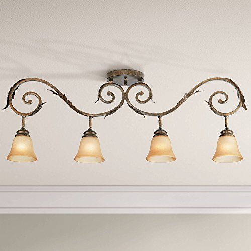 Pro Track Bronze Scroll 4-Light Amber Glass Track Fixture - Pro Track
