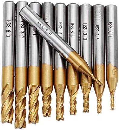 GENERICS LSB-Werkzeuge, 10pcs 1.5-6.0mm 4 Flute Titanium-Beschichtung Schaftfräser 6mm Schaft CNC-Bohrer Cutting Tools (Größe : 1.5-6.0mm)