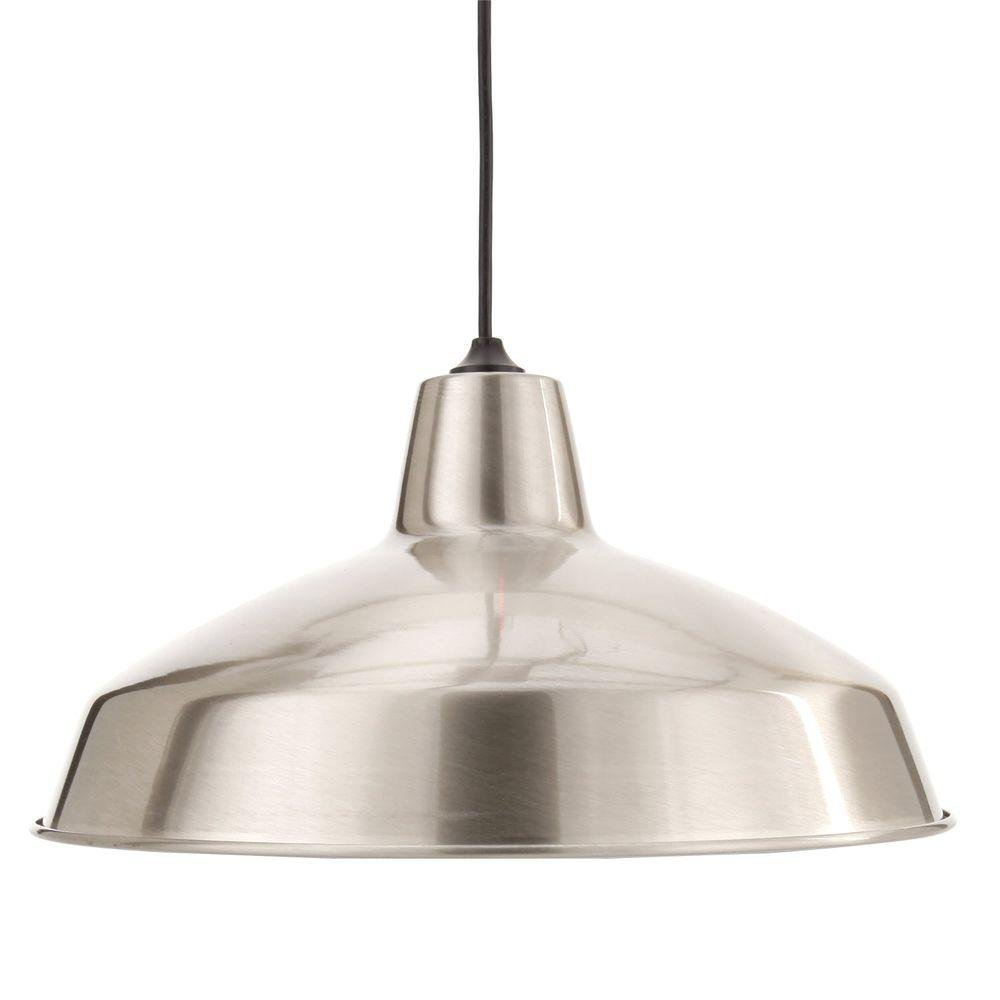 Hampton Bay AF-1032R 1-Light Brushed Nickel Warehouse Pendant ...