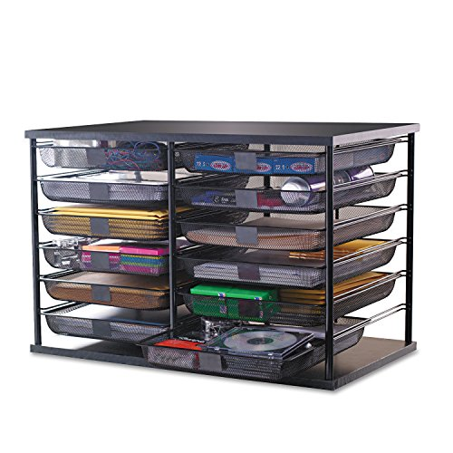 12-Compartment Organizer with Mesh Drawers, 23 4/5'' x 15 9/10'' x 15 2/5'', Black by 6COU