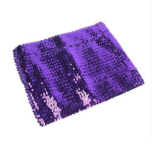 L'vow Women's Sexy Sparkling Sequins Stretch Tank Crop Top Bra Party Club wear (purple)