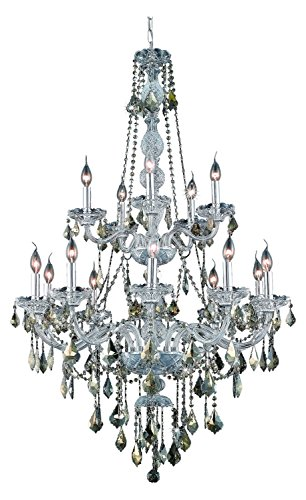 (Royal Cut Smoky Golden Teak Crystal Verona 15-Light, Two-Tier Crystal Chandelier, Finished in Chrome with Smoky Golden Teak Crystals)