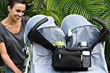 BEST DOUBLE STROLLER ORGANIZER for Smart Moms, Fits All Double & Single Strollers, Deep Cup Holders, Extra Storage Space for iPhones, Wallets, Diapers, Books, & Toys, The Perfect Baby Shower Gift!