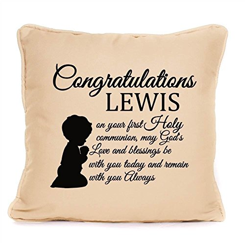 Holy Communion Gift For Boy - Personalised 1st Communion Gift - Cushion Pillow Cover - 12 inch x 12 inch by Four Leaf Clover Gift Shop