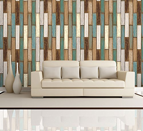 Vertical Retro Rich Earthy Colored Wood Textured Paneling Pattern Wall Mural Removable Wallpaper