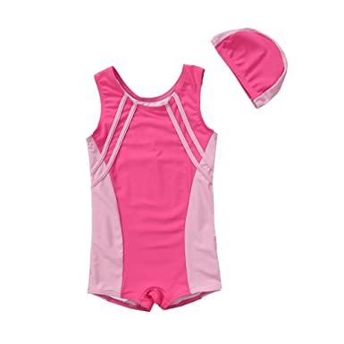 93edf7d332 Vivo-biniya Vivobiniya Kid Girl One-Piece Swimsuits and Cap Upf50+Contrast  Color