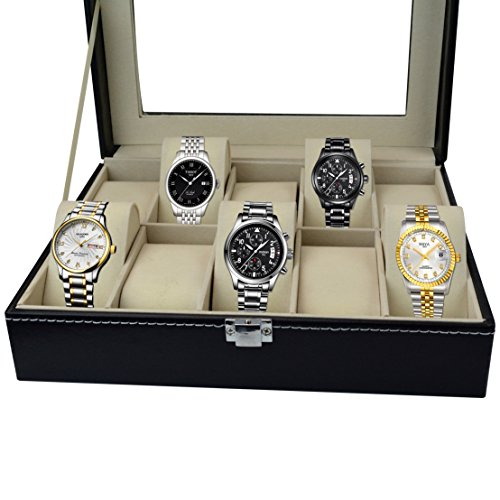 Aketek Watch Box 10 Mens Black Leather Display Glass Top Jewelry Case Organizer by Aketek (Image #4)