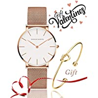 Women's Rose Gold Watch Analog Quartz Stainless Steel Mesh Band Casual Fashion Ladies Wrist Watches with Love Knot Bracelet Gift (White Dial)