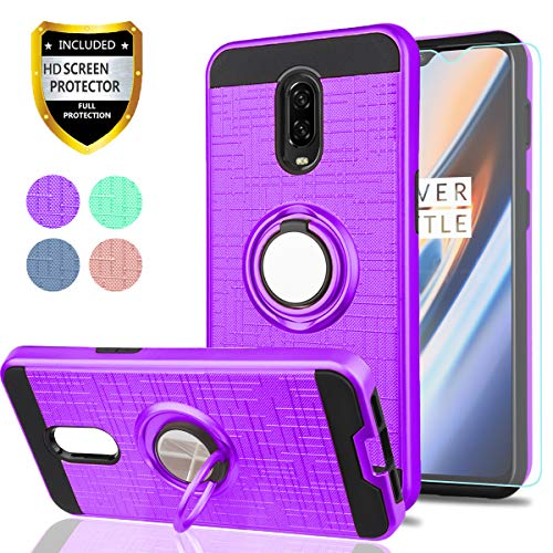 OnePlus 6T Case,OnePlus 6T Phone Cases (NOT OnePlus 6) with HD Phone Screen Protector,YmhxcY 360 Degree Rotating Ring & Bracket Dual Layer Resistant Back Cover for 1+ 6t 2018-ZH Purple