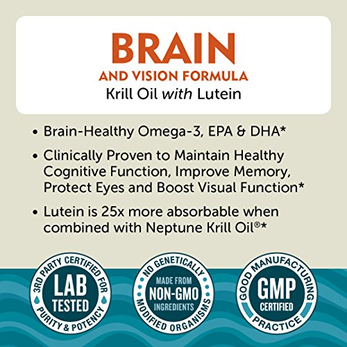 Krill Oil Brain & Vision Formula with Lutein. Supports Cognitive Function, Improved Memory, Protects Eyes & Boosts Vision
