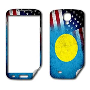 Skin (decal) for Samsung Galaxy S 4 - Flag of Palau & USA - Rustic / Grunge design (Palauan)