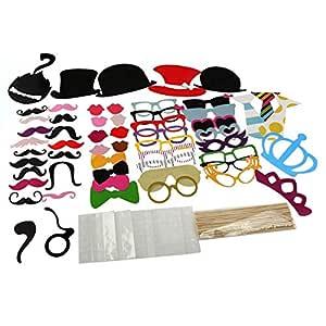 60Pcs Fotocall Props Kit para Photocall de Comunion, Bodas, Fiestas, Cumpleaños, Navidad, DIY Kit divertida con modelos de Gafas, Sombreros, Bigotes, ...