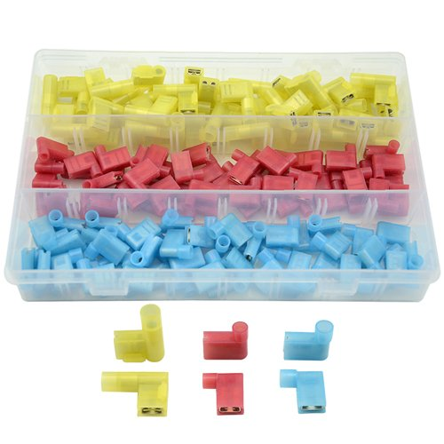 XLX 150Pcs 22-18 18-14 12-10 Gauge Nylon Flag Spade Female Insulated Quick Disconnects Electrical Crimp Terminals Connector Assortment Set(Red Blue Yellow)