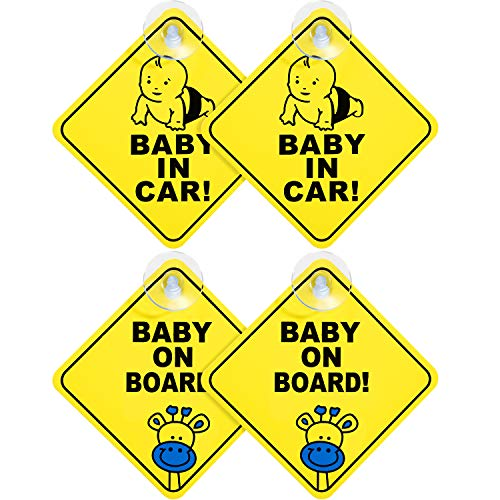 Jovitec 4 Pieces Car Baby Signs Removable Suction Cup Car Sign Safety Warning Stickers