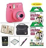 Fujifilm Instax Mini 9 Instant Camera (Flamingo Pink) + Fujifilm Instax Instant Film 20 Sheets + 4 Batteries & Charger + Photo Album + Convenient Case + MORE