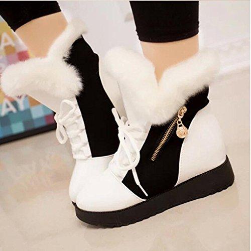 Donna Ankle Neve Snow Somesun Piatti Women Punta Stivali Invernali Scarpe White Stivaletti Morbida Boots Pelliccia Rotonda 5gfqf1wHX