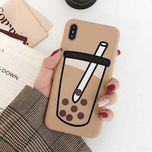 9Guu Milk Tea Phone Case for iPhone XR XS Max XS Case for iPhone 7 8 Plus Candy Color Soft TPU Full Body Protector Shell (Yellow, for iPhone 7 8)