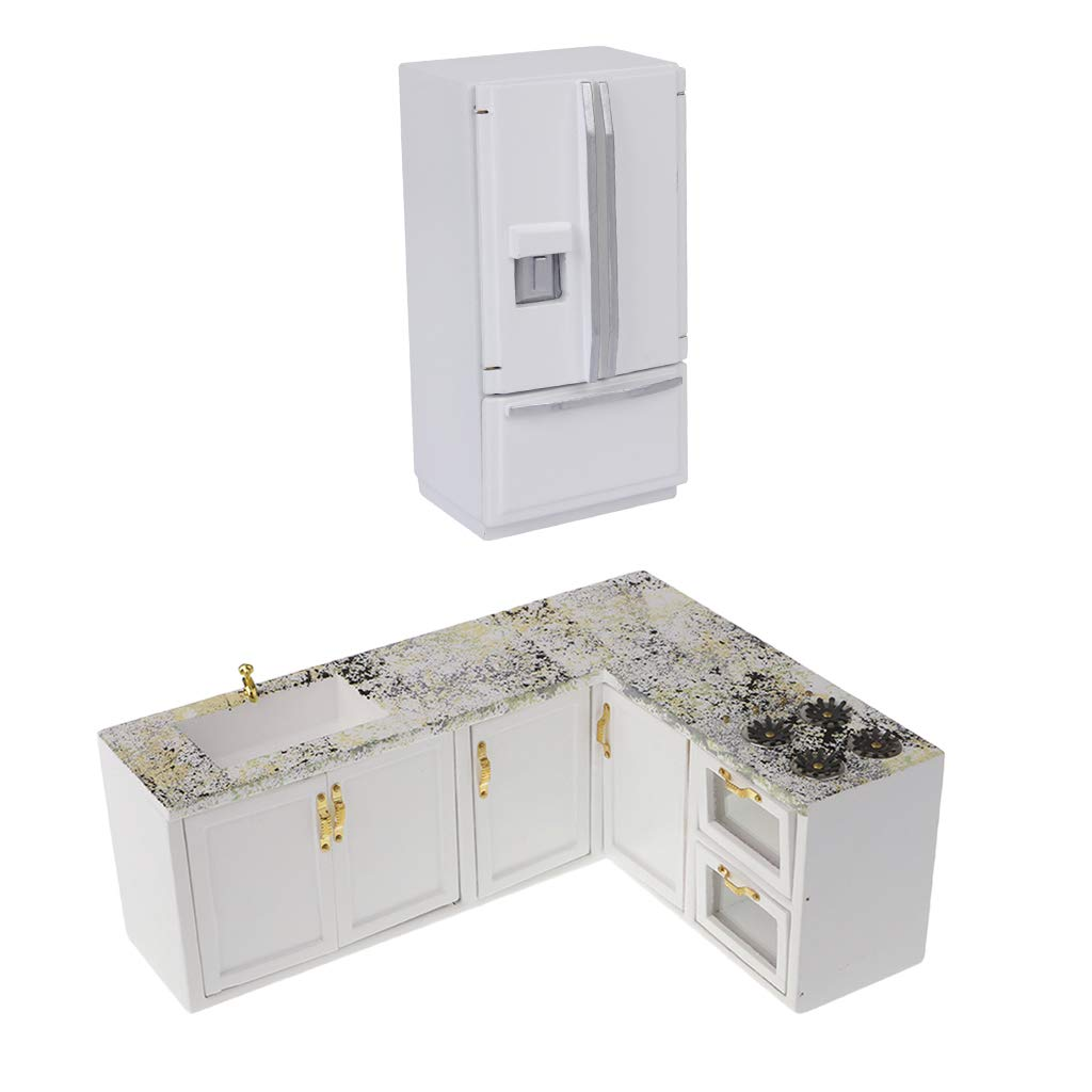 Fityle 2pcs Dollhouse Mini Kitchen Cabinet Furniture Cooking Bench & Fridge 1:12 Model