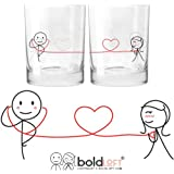 "BOLDLOFT® ""My Heart Beats for You"" His & Hers Drinking Glasses-His Hers Couple Gifts,Matching Couples Gifts,Christmas Gifts for Him for Boyfriend,Cute Valentines Day Gifts,Romantic Anniversary Gifts"